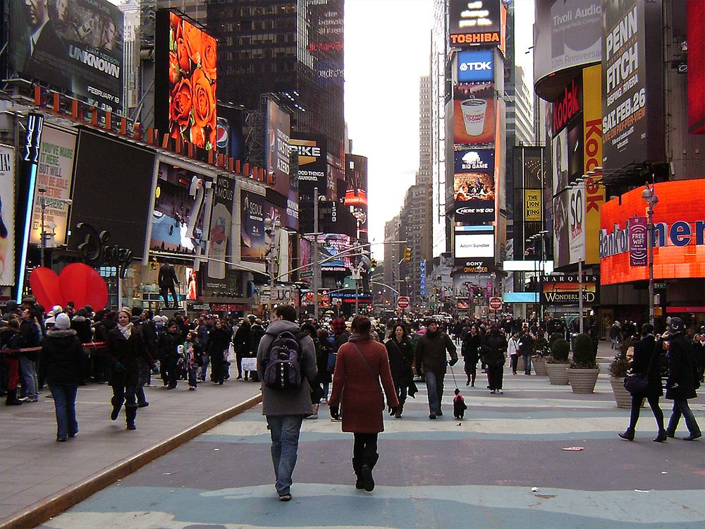 A weak euro and a strong dollar could mean fewer Europeans shopping in the streets of NYC ... photo by CC user craigdietrich on Flickr